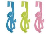 Premier Housewares Monkey Over Door Hanger, Blue/Lime Green/Hot Pink, 3-Piece