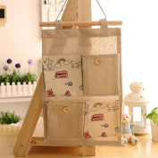 4 Pocket Cotton And Linen Cloth Multi-pocket Colour Simple Folding, Storage Bag,Four Styles Are Available