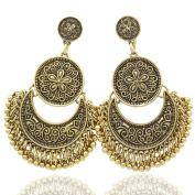 Q & Q Fashion Ethnic Bali Jhumka Jhumki Brocade Lotus Mexico Gypsy Dangle Earrings
