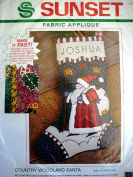 Country Woodland Santa Fabric Applique Christmas Stocking Kit 18044