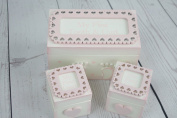 Pink Baby Tooth and Curl Boxes Shabby Chic Style Christening Lace Box F1719A