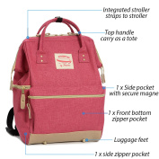 Wide Open Designer Baby Nappy Backpack By Moskka–Travel Bag, Nappy Tote Bag w/ Stroller Straps, Changing Pad & Insulated Pocket For Girl – Pink