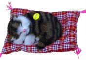 Gogoforward Lovely Simulation Animal Doll Plush Sleeping Cats Toy with Sound Kids Toy Birthday Gift Doll