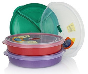 (Set of 3) Chef's 1st Choice Microwave Food Storage Tray Containers - 3 Section / Compartment Divided Plates w/ Vented Lid