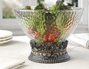 Elegant Home Centrepiece Serving Hammered Glass Bowl on Iron Stand