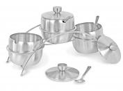 Internet's Best Condiment Serving Bowls with Stand | Set of 3 | Catering Hosting Serving Dish Set with Lids and Spoons | Stainless Steel