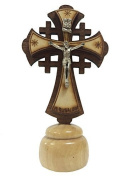 Wooden Small Jerusalem Cross, Olive Wood standing crucifix, display stands crosses for home,Thanks Giving or Christmas Gift
