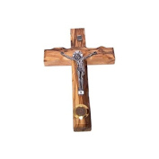 Med. size Latin Crucifix from Bethlehem - Olive wood (16cm or 6.4 inches).