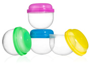 100 Vending Machine Capsules 5.1cm , Empty Acorn Cases for Gumball Containers, Toy Stands, and Party Favours, Bright Coloured Lids and Clear Bottoms