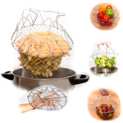 HS Foldable Fry Basket Steam Rinse Strain Chef Magic Basket Strainer Kitchen Cooking Tool