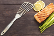 Fish Spatula – AdeptChef Stainless Steel, Slotted Turner – Bevelled Design Ideal For Turning & Flipping To Enhance Frying & Grilling – Sturdy Handle, Multi-Purpose – Buy Your Premium Experience TODAY!