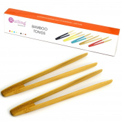 RuiLing Long Grip 2-Pack 24cm Natural Bamboo Kitchen Tongs Toast Tongs.