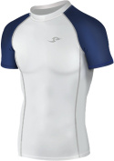 New 037 White Skin Tights Compression Base Layer Sports Short Sleeve Top Mens