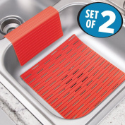 mDesign Silicone Kitchen Sink Protector Mat and Divider - Set of 2, Red