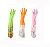 Cindy & Will 3Pairs Reusable Non-skip Antibacterial Dishes Laundry Washing Cleaning Soft Cutton Lining Waterproof Long Sleeves Drawstring Latex Gloves