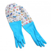 Gilroy Housework Cleaning Dish Washing Gloves Flexible Long Sleeve Laundry Cleaning Gloves - Blue M