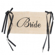 Fenical Bride Groom Chair Signs Set Vintage Burlap Bunting Banner Wedding Decoration