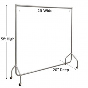 Heavy Duty Silver Grey Clothes Rail 0.6m Long x 1.5m High Garment Storage Rack 32mm Steel Tube