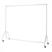 Heavy Duty White Clothes Rail 1.8m Long x 1.5m High Garment Storage Rack 32mm Steel Tube