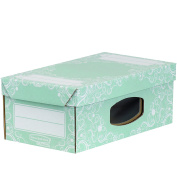 Bankers Box Style Wardrobe/Shoe Box with Window, Large - Green/White, Pack of 4