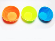 ARSUK® Silicon cup cake Mould Silicone Bakeware Baking Muffin Cups Reusable Cupcake Liners Cases Moulds Sets Non-stick Bakeware - Perfect for Muffin,gelatin,snacks,frozen Treats,ice Cream or Chocolate Shell-lined Dessert Moulds 24 peices With 3 differe ..