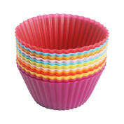 Cupcake Cases, LoveChef Pack of 12 Silicone Reusable Muffin Cases