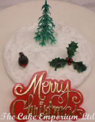 Holly Leaf / Christmas Tree / Robin / Motto Cake Toppers Decorations