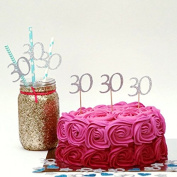 Lissielou 30th Cupcake Toppers - Silver