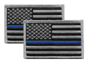 2 Pack - US Flag Thin Blue Line Hook and loop Patch, Grey on Black, for Police and Law Enforcement. Sold by UNIFORM WORLD
