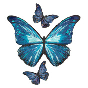 BUTTERFLY BLUE BUTTERFLIES EMBROIDERED PATCH IRON-ON APPLIQUÉ FASHION SET DECORATIVE PATCHES