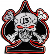 30cm Large 13 Lucky Thirteen Number Skull Cross Bone Ace of Spades Devil Outlaw MC Biker Punk Rock Heavy Metal Jacket T-shirt Patch Iron on Applique Embroidered Jacket T shirt Sign Costume