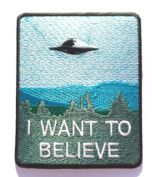 I Want To Believe Patch Embroidered Iron / Sew on Badge The X-Files Movie Poster Costume Souvenir Applique New