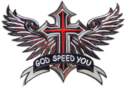 30cm XXL Large Funny GOD SPEED YOU Jesus Angle Wings Wings Cross Lady Rider Biker Logo Back Motorcycle Jacket T-shirt Patch Sew Iron on Embroidered Applique Sign Badge Costume