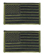 Pack of 2 American Flag Embroidered Patches Olive Green Subdued Antique look USA United States of America, iron on or sew on tactical