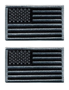 Pack of 2 American Flag Embroidered Patches Black / Silver Antique look USA United States of America, iron on or sew on tactical patch