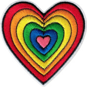 Rainbow Heart Iron Sew On Patch / Applique