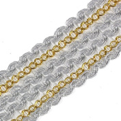 Wholesale 10yards Braided Silver Gold Ribbon Lace Applique Trim Gimp Tape Lace Venice Sewing Accessories For Clothes / Fashion Design T1507