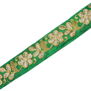 Embroidery 1 Yard Thin Green Base Gold Sequin Ribbon Trim Craft New Border Lace Saree Tape