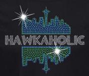 Seattle Football Hawkaholic Rhinestone Iron on Transfer
