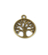 Liangxiang 50PCS Life of Tree Design Round Metal Charm Pendents Antiqued Bronze