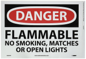 "NMC D646PB OSHA Sign, Legend ""DANGER - FLAMMABLE NO SMOKING MATCHES OR OPEN LIGHTS"", 36cm Length x 25cm Height, Pressure Sensitive Vinyl, Black/Pink on White"