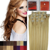 46cm Colour 27/613 dark blonde mixed with light blonde Full Head Clip in Human Hair Extensions. High quality Remy Hair 100g Weight
