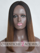 Chantiche Ombre Brown Short Bob Wig 7.6cm Middle Deep Parting Silk Top Human Hair Lace Front Wigs For Black Women Best Light Yaki Straight Dark Roots Two Tone Brazilian Remy Hair Wigs 41cm