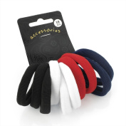 Ten piece black, white, red and navy elastic ponio hair accessory set.