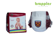 Official West Ham United FC Hammers Baby Nappies, pack of 12, Great Present