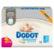 Dodot Sensitive, Size 2, For Children Weighing 3-6 kg - 34 Nappies