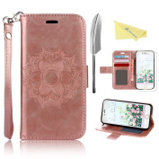 iPhone 7 Case Cover 12cm ,Rosa Schleife® PU Leather Mandala Floral Flower Pattern Embossed Magnetic Flip Wallet Cover with Hand Strap & Card Slots & Stand Function Protective Cases Covers for iPhone 7