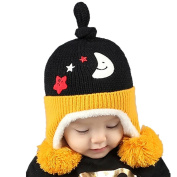 Bluester Cute Baby Toddler Kids Stars Moon Print Fur Ball Knitted Winter Warm Hat Cap