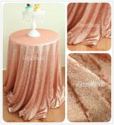 QueenDream 240cm round sequin tablecloth Blush for thanksgiving decor