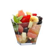 Mini 60ml Square Dessert Cups. Pack Includes 50 Clear Plastic Appetiser / Dessert / Tasting Cups